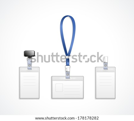 vector templates for name tag with lanyard, retractor end badge - stock vector