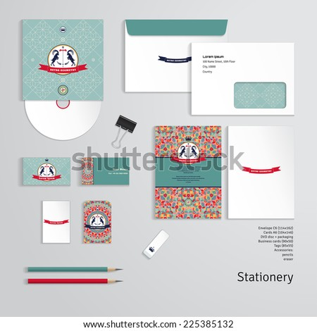 Vector templates. Geometric pattern. Emblem with two goats and ribbon for your text. Envelope, cards, business cards, tags, disc with packaging, pencils, eraser, clamp.  - stock vector