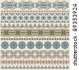 vector ten seamless vintage border pattern, brushes included - stock vector