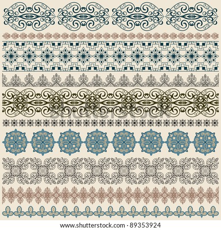 vector ten seamless vintage border pattern, brushes included