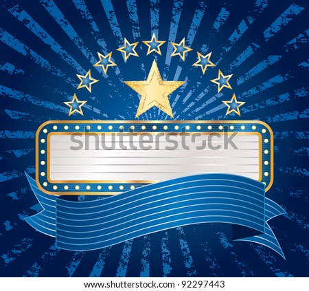 vector ten stars with blank billboard on blue grunge rays - stock vector
