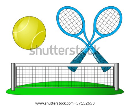 Vector tennis attributes on a white background