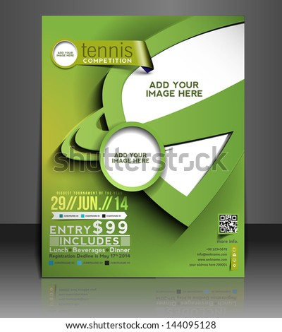 Vector Tennis Competition Flyer Brochure Magazine Stock Vector
