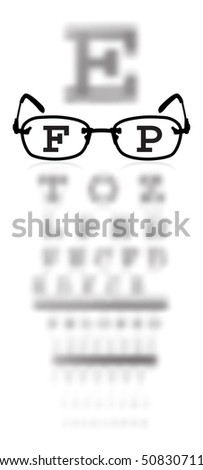 Vector test alphabet in oculist room with glasses - stock vector
