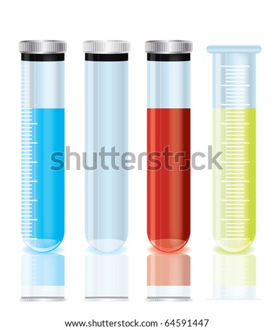 vector test tubes on a isolated background - stock vector
