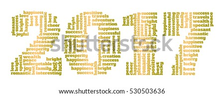 Vector text collage. Number of New Year made up of greeting words.