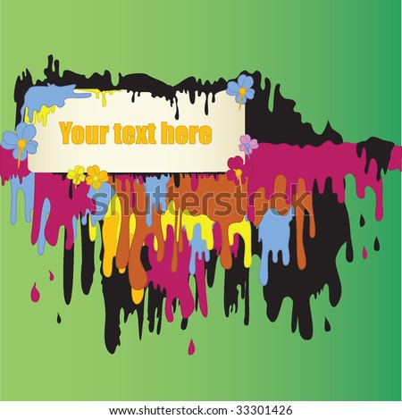 Vector Text Frame Dripping with Paint - stock vector