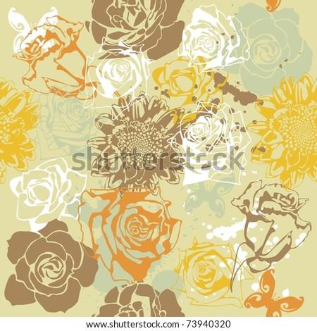 vector texture consist of flowers on beige background. Vector illustration - stock vector