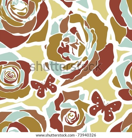 vector texture consist of flowers on beige background. Vector illustration - stock vector