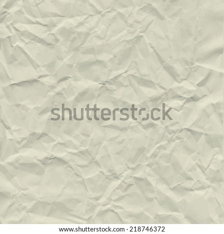 Vector texture of crumpled paper. Background paper.  Textured wallpaper. Color beige. Use for antique, retro, vintage, old, rustic style too. Eps 10 vector file.  - stock vector
