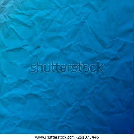Vector texture of crumpled paper. Background paper. Textured wallpaper. Color blue. Use for antique, retro, vintage, old, rustic style too. Eps 10 vector file.  - stock vector