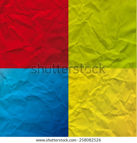 Vector texture of crumpled paper. Background paper. Textured wallpaper. Color red, blue, green, yellow.  - stock vector