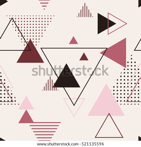 Vector texture of geometric colorful shapes. Geometric figures pattern in modern hipster style. Nice abstract background with Triangles in flat style.