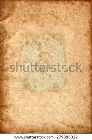 vector texture of the old paper with a green rectangle in the center.  - stock vector