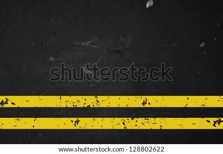 Vector textured asphalt road with cracked yellow marking - stock vector