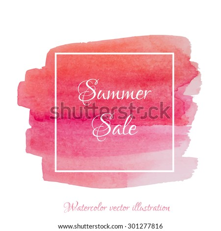 Vector textured hand painted watercolor Summer Sale banner with paint stains and blots. Hand drawn watercolor cubic form isolated, coral, pink, red, strawberry colors, Vector Watercolor Background - stock vector