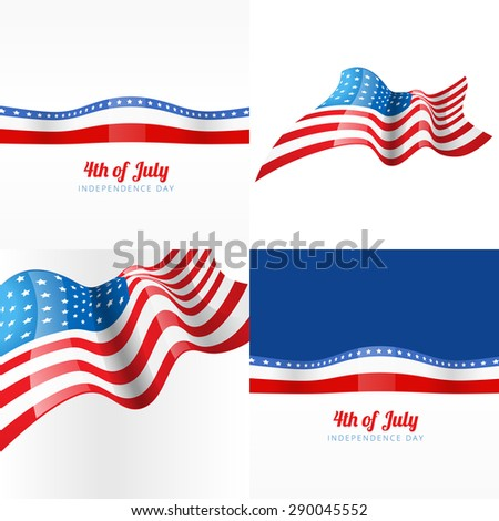 vector 4th july american independence day background with american flag