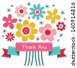 Vector thank you card with retro style flower posy and vintage ribbon banner. Also great for birthday, thank you, social media, web banner. - stock