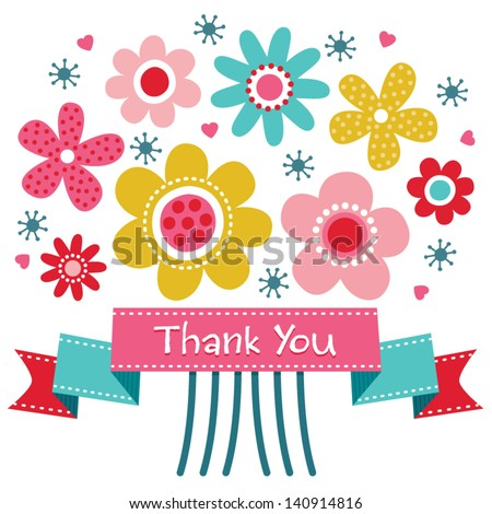 Vector thank you card with retro style flower posy and vintage ribbon banner. Also great for birthday, thank you, social media, web banner. - stock vector