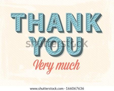 vector thank you greeting card - stock vector