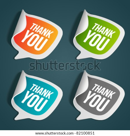 Vector thank you message stickers set. Eps 10. - stock vector
