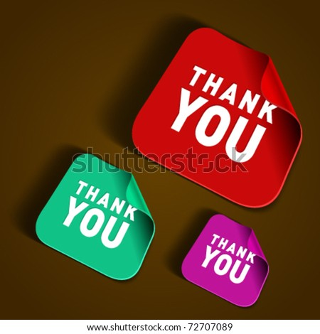 Vector thank you message stickers set. Transparent shadow easy replace background and edit colors. - stock vector