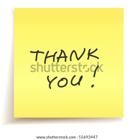 vector thank you note - stock vector