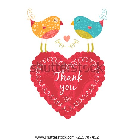 Vector thank you note with birds, flower and heart - stock vector