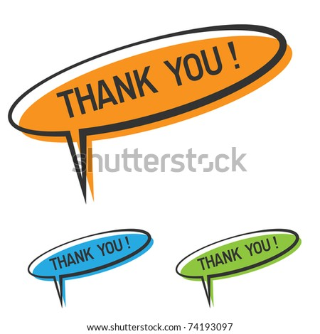 """vector """"thank you"""" speech bubble - stock vector"""