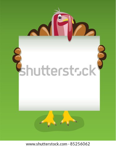 vector thanksgiving day design of turkey holding blank sheet of paper - stock vector
