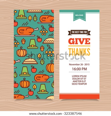 Vector Thanksgiving Day invitayion template with turkey, pie, pumpkin, settlers hat, autumn leaves and vegetables. Modern line art design for web, site, advertising, banner, poster, board and print.  - stock vector