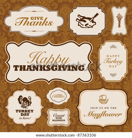 Vector Thanksgiving Frame Set. Easy to edit. Perfect for invitations or announcements. - stock vector