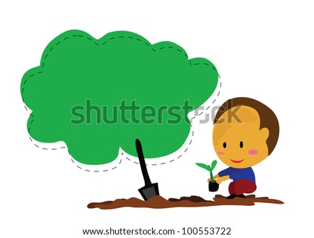 Vector - The boy planted a trees.The empty blank for fill your note. - stock vector