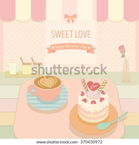 Vector the cake and coffee in the bakery cafe shop.Cute theme and pastel color for valentine's day.
