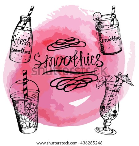 Vector. The inscription and four objects smoothie on watercolor background. Lettering . Hand drawing. Fruity summer cocktails. set. Pink. bright - stock vector
