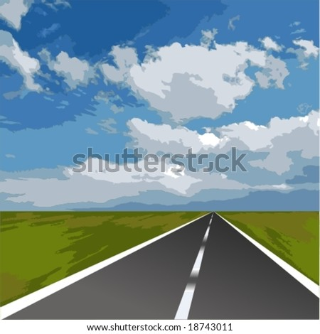 Vector: the long road. Layered per color for easier editing. - stock vector