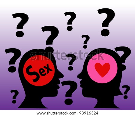 Vector-The mind symbol of man and woman with a human head.The different of thinking,The man think in sex and the woman think in love. - stock vector