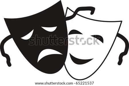 Vector Theatrical masks - isolated illustration character Theater - Tragedy and Comedy - stock vector