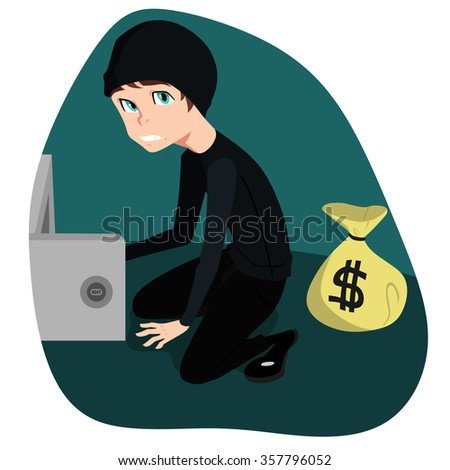 Vector Thief Illustration. Funny Character of Robber - stock vector