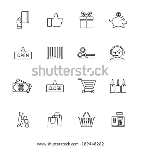 Vector thin and light purchase icons set - stock vector