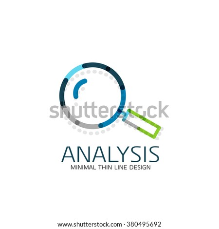 Vector thin line design logo magnifying glass, search and find or zoom logotype concept. Linear minimalistic business icon - stock vector