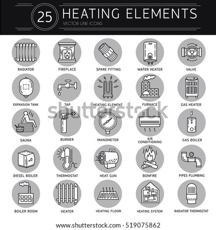 Vector Thin Line Icon Heating Linear Pictogram Stock Vector Royalty