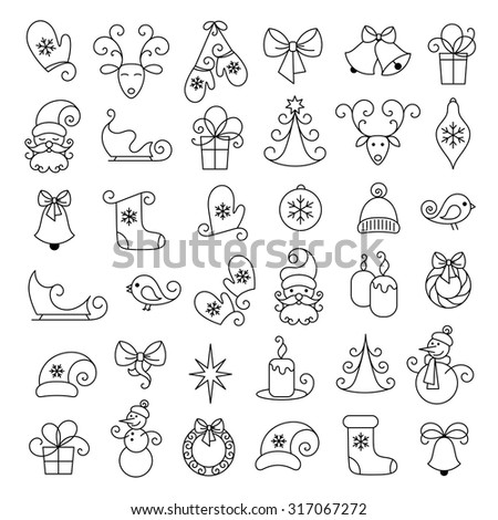 Vector thin line icons, Christmas and new year. Set for web design, applications and infographics.