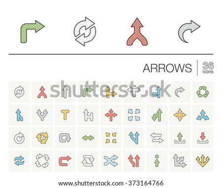 Vector thin line icons set and graphic design elements. Illustration with arrows, direction and move outline symbols. Turn left, right, switch, undo color pictogram
