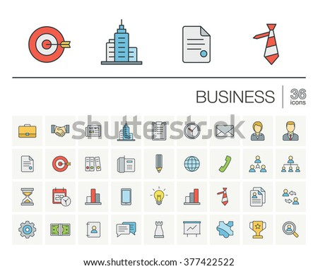 Vector thin line icons set and graphic design elements. Illustration with business and management outline symbols. Marketing research, strategy, service, career, mission, analytic linear pictogram - stock vector