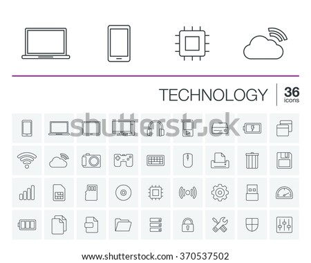 Vector thin line icons set and graphic design elements. Illustration with technology and digital outline symbols. Mobile phone, cloud computing, cogwheel, settings, network and media linear pictogram - stock vector