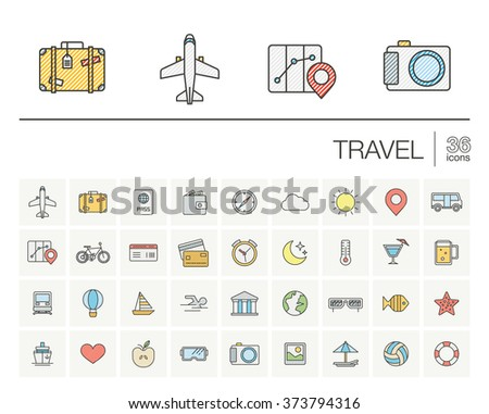 Vector thin line icons set and graphic design elements. Illustration with travel, tourism outline symbols. Planning, summer, vacation, airplane, map, luggage, sunglasses color pictogram - stock vector