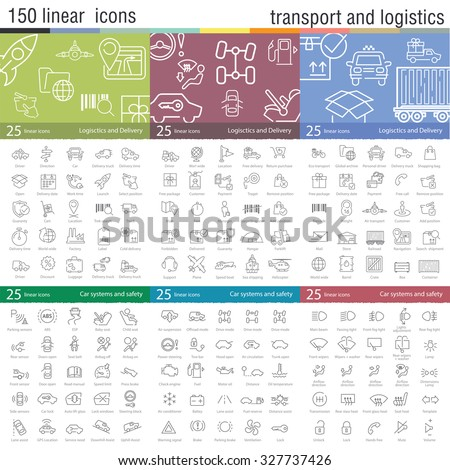 Vector thin line icons set for transportation, logistics, delivery and car interface. - stock vector