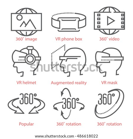 Vector thin line icons set with 360 Degree View Icons, virtual reality equipment and accessories for infographics and UX UI kit