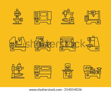 Vector thin line machine tool icons. Technology industry, factory production, manufacturing and milling illustration - stock vector